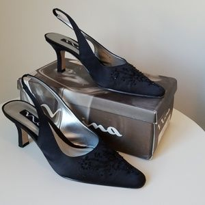 Nina Beaded Black Sling Heels 9.5 M